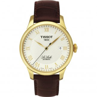 Men's Gold Le Locle Brown Strap Watch T41.5.413.73