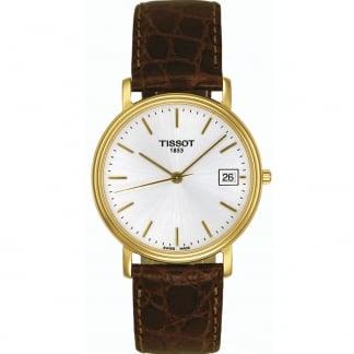 Men's Gold Plated Desire Gent Quartz Strap Watch T52.5.411.31