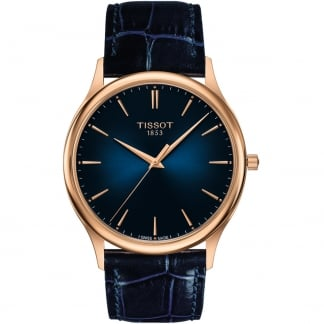 Men's Goldrun Blue Leather 18ct Rose Gold Watch
