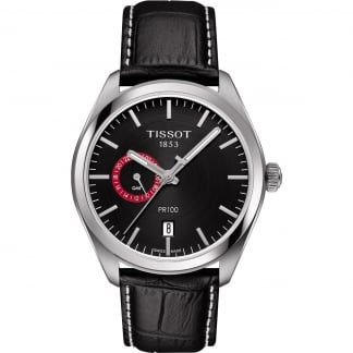 Men's PR 100 Dual Time Black Leather Quartz Watch