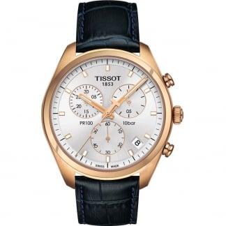 Men's Rose Gold PR 100 Blue Leather Chronograph Watch T101.417.36.031.00