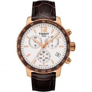 Men's Rose Gold Quartz Quickster Chronograph Watch T095.417.36.037.00