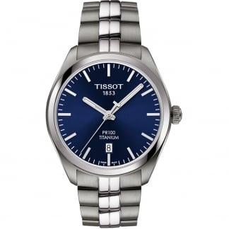Men's Blue Dial Titanium PR 100 Watch T101.410.44.041.00