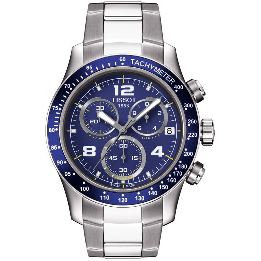 Tissot Men's V8 Blue Dial Chronograph Bracelet Watch T039.417.11.047.02