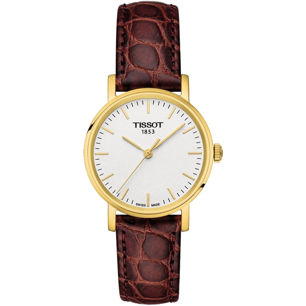 7c8a37de7d4 Tissot Women s Gold Plated Everytime Lady Brown Strap Watch Product Code   T109.210.36.031.00