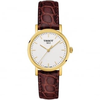 Women's Gold Plated Everytime Lady Brown Strap Watch T109.210.36.031.00