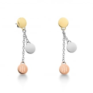 Tri-Colour Coin Earring Drops