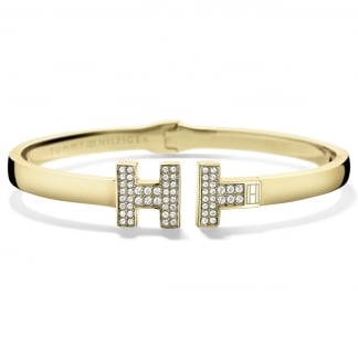 Gold Plated Crystal Hinged Bangle