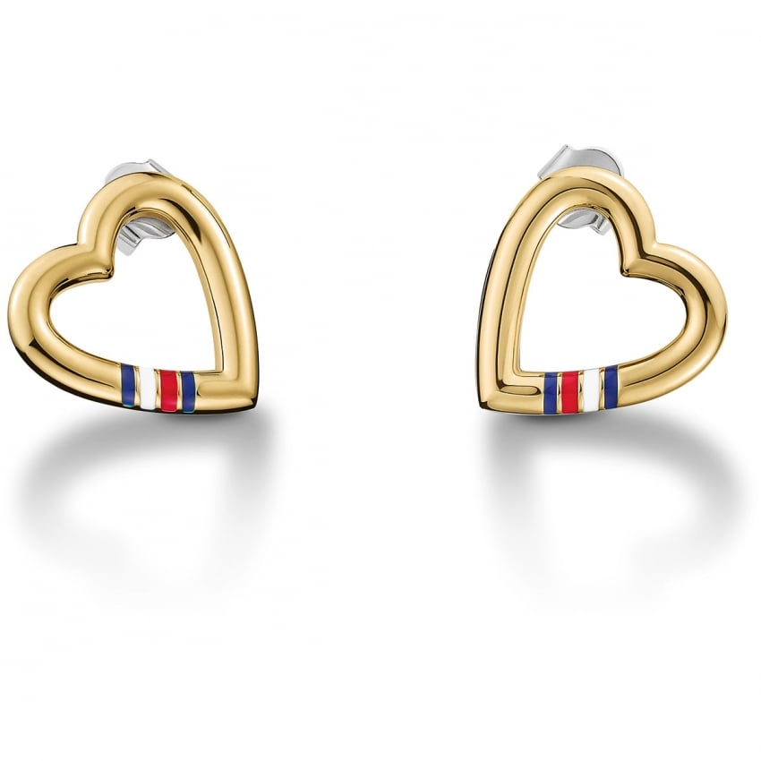 Tommy Hilfiger Gold Plated Open Heart Earrings 2700910