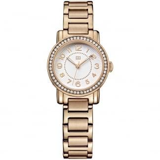 Ladies Crystal Set Rose Gold Bracelet Watch 1781476