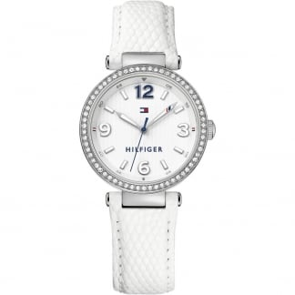 Ladies Crystal Set White Leather Lynn Watch 1781586
