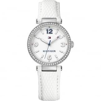 Ladies Crystal Set White Leather Lynn Watch 1781586
