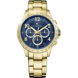 Ladies Dani Gold Plated Blue Dial Multifunction Watch