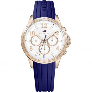 Ladies Dani Rose PVD Multifunction Blue Strap Watch