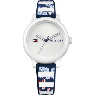 Ladies Floral and Stripe Strap Ashley Watch