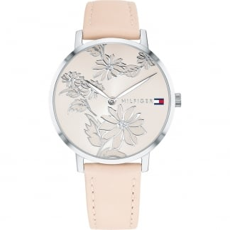 Ladies Floral Pink Leather Pippa Watch