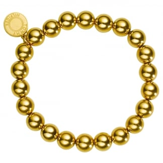 Ladies Gold Ball Logo Disc Bracelet