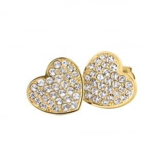 Ladies Gold Stone Set Heart Earrings