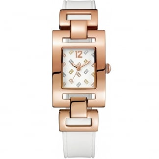 Ladies Lajolla Rose PVD White Strap Watch