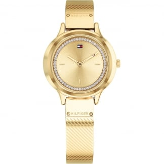 Ladies Olivia All Gold Stone Set Mesh Watch