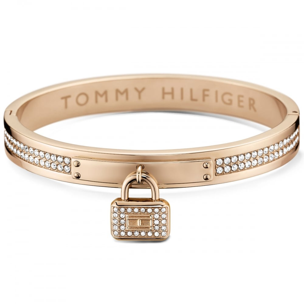 tommy hilfiger ladies rose gold stone set padlock bangle. Black Bedroom Furniture Sets. Home Design Ideas