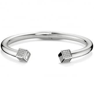 Ladies Stone Set Cube End Bangle