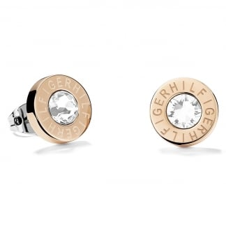 Ladies Stone Set Rose Gold Logo Studs