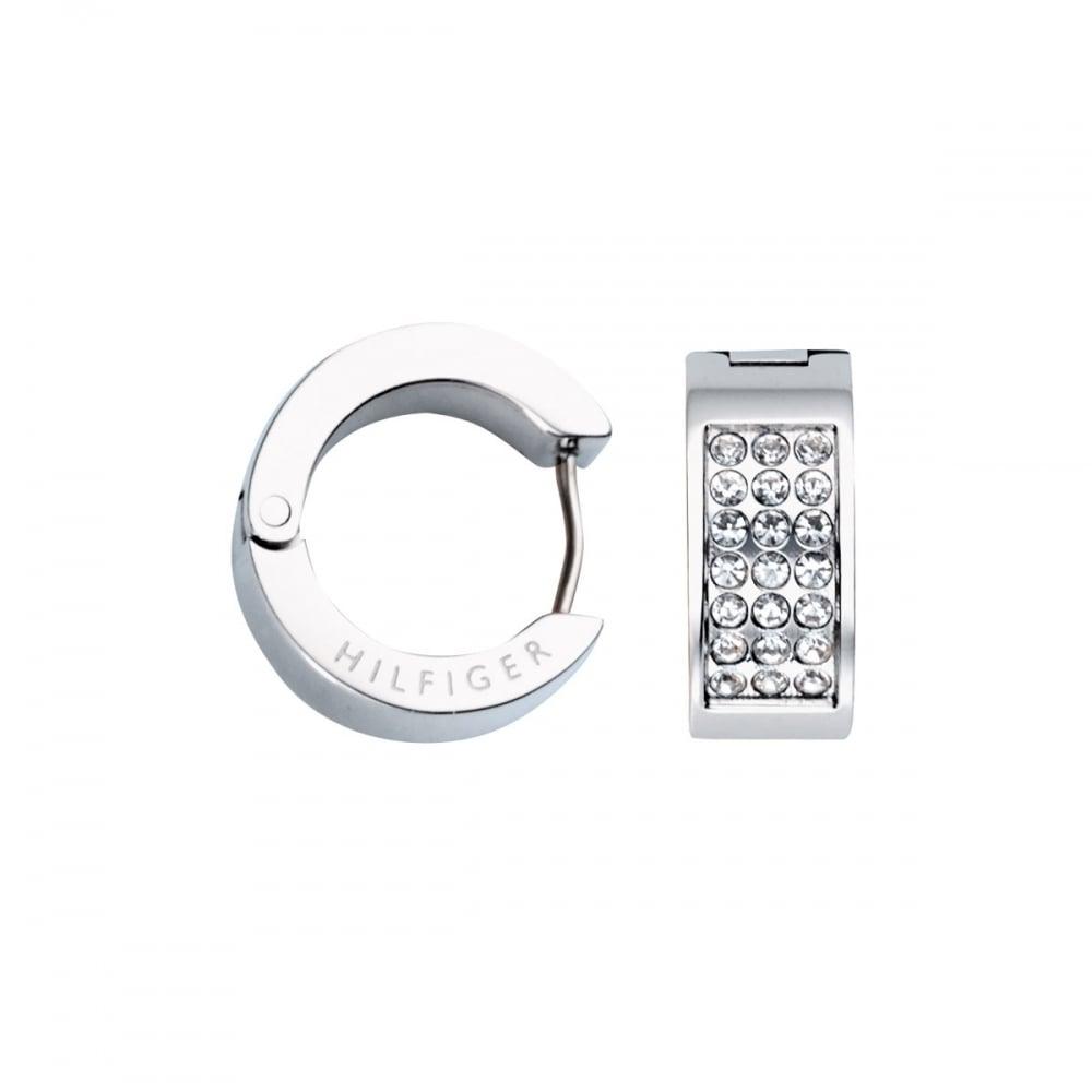 7d60b5080 Tommy Hilfiger Ladies Stone Set Steel Huggie Earrings Product Code: 2700572