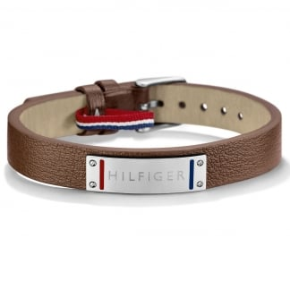 Men's Brown Leather Steel Logo Bracelet