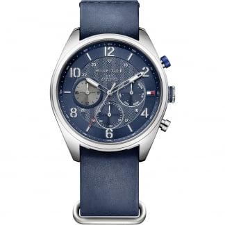 Men's Corbin Blue Leather Chronograph Watch 1791187