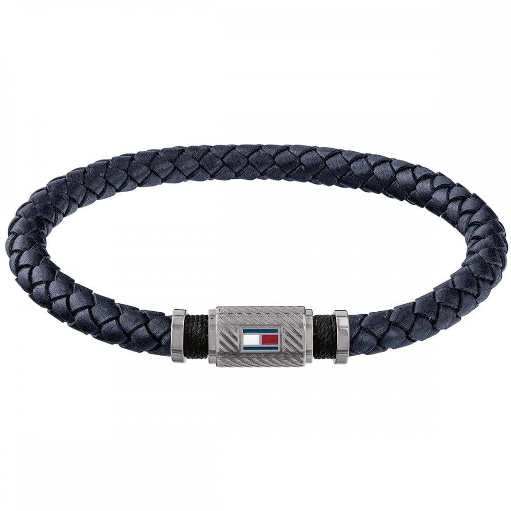 01ec908034651 Tommy Hilfiger Men's Dark Blue Leather Bracelet