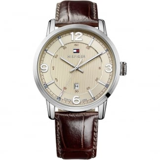 Men's George Brown Leather Beige Dial Watch 1710343