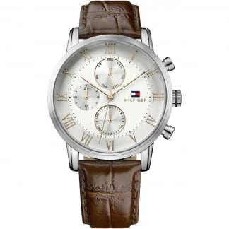 Men's Kane Brown Leather Chronograph Watch