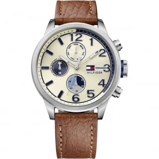 Men's Multifunction Brown Leather Jackson Watch 1791239