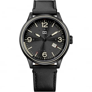 Men's Peter Black PVD Leather Strap Watch 1791103