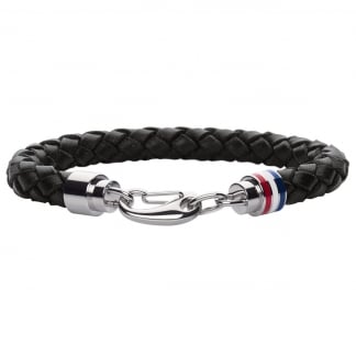 Men's Plaited Black Leather Bracelet