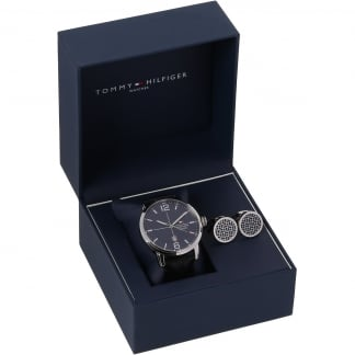 Men's Strap Watch & Cufflink Set