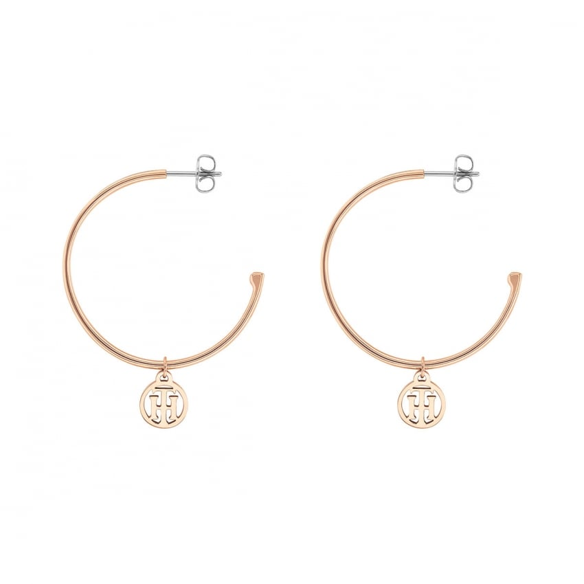 Tommy Hilfiger Rose Gold TH Earring Hoops 2780024