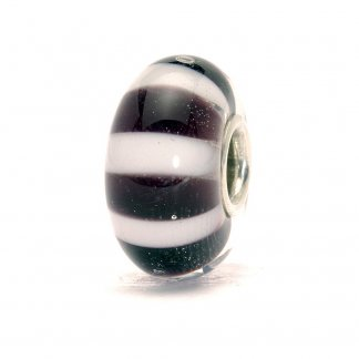 Murano Glass Black and White Stripes Bead