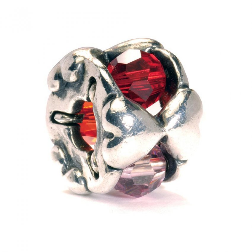 Trollbeads Sterling Silver and Swarovski Crystal Valentine Bead 61715