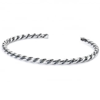 Twisted Silver Bangle - L