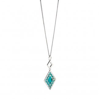Turquoise Rhombus Cut Out Pendant P3834T