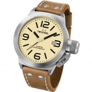 Men's 50MM Canteen Leather Tan Strap Watch CS12