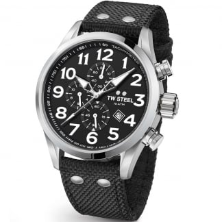 Men's Volante 45MM Black Canvas Chronograph Watch