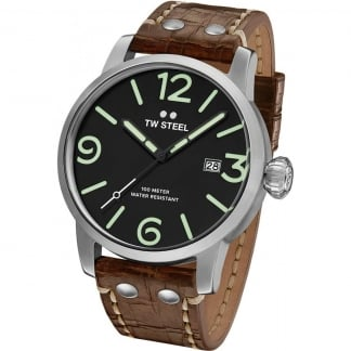 Men's Maverick 45MM Brown Leather Strap Watch