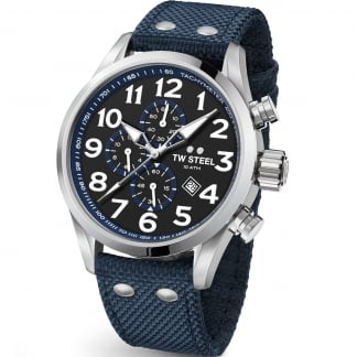 Men's Volante 45MM Blue Canvas Chronograph Watch