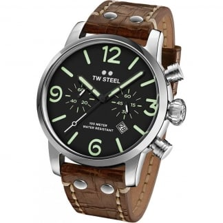 Men's Leather Maverick 45MM Chronograph Watch
