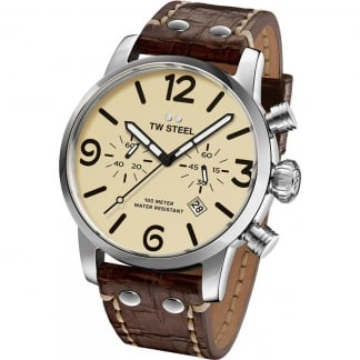 Men's Maverick 45MM Brown Leather Chronograph Watch