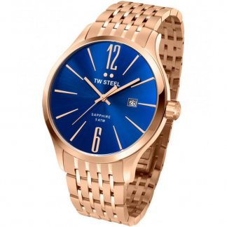 Men's Rose Gold Tone Slim Line Blue Dial Watch