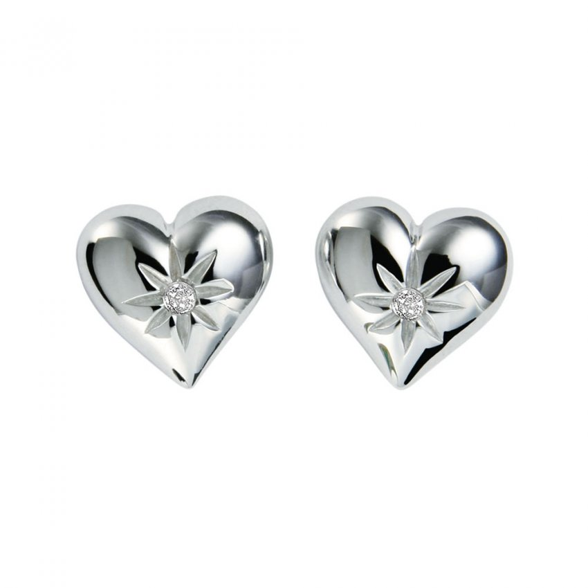 Hot Diamonds Two Hearts Silver Earrings DE145